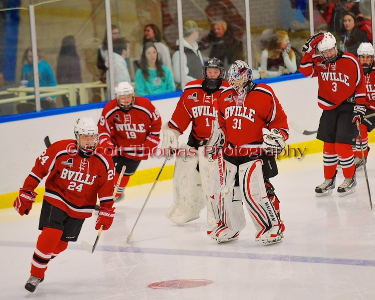 Baldwinsville Bees take the ice in new uniforms before playing the West Genesee Wildcats at Shove Park in Camillus, New York on Friday, January 9, 2015. Game ended in a 3-3 tie.
