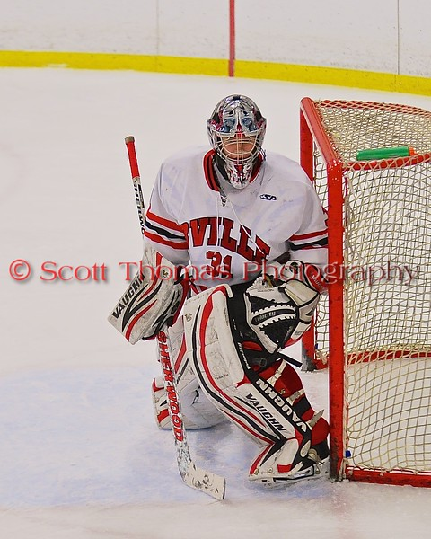Baldwinsville Bees goalie Matt Sabourin (31) in the net against the Fayetteville-Manlius Hornets at the Greater Baldwinsville Ice Arena in Baldwinsville, New York on Tuesday January 6, 2015.  Baldwinsville won 6-1.