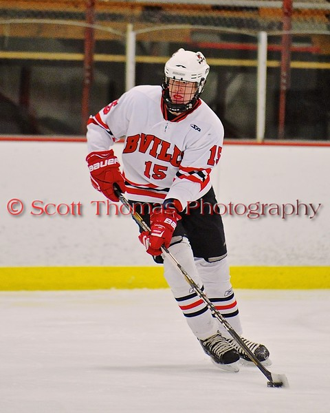 Baldwinsville Bees Charlie Bertrand (15) looking to make a play against the Fayetteville-Manlius Hornets at the Greater Baldwinsville Ice Arena in Baldwinsville, New York on Tuesday January 6, 2015.  Baldwinsville won 6-1.