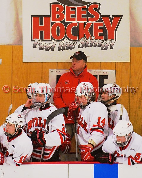 Baldwinsville Bees Head Coach Mark Lloyd behind the bench against the Fayetteville-Manlius Hornets at the Greater Baldwinsville Ice Arena in Baldwinsville, New York on Tuesday January 6, 2015.  Baldwinsville won 6-1.