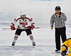 Baldwinsville Bees Senior Captain Matt Abbott (29) before the opening face-off against the McQuaid Black Knights in NYSPHSAA Division I Boys Hockey Championships at the Utica Memorial Auditorium in Utica, New York on Sunday, March 15, 2015.  McQuaid won 6-2.