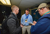 Baldwinsville Bees Head Coach Mark Lloyd talks with reporters after the game with the McQuaid Black Knights in NYSPHSAA Division I Boys Hockey Championships at the Utica Memorial Auditorium in Utica, New York on Sunday, March 15, 2015.