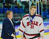 Baldwinsville Bees goalie Matt Sabourin (31) received his medal after playing the McQuaid Black Knights in NYSPHSAA Division I Boys Hockey Championships at the Utica Memorial Auditorium in Utica, New York on Sunday, March 15, 2015.
