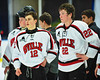 Baldwinsville Bees Connor Carhart (12) and Matt Monaco (22) after playing the McQuaid Black Knights in NYSPHSAA Division I Boys Hockey Championships at the Utica Memorial Auditorium in Utica, New York on Sunday, March 15, 2015.  McQuaid won 6-2.