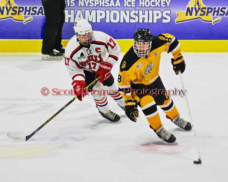 Baldwinsville Bees James Pelcher (17) chasing after McQuaid Black Knights Jack Dugan (8) in NYSPHSAA Division I Boys Hockey Championships at the Utica Memorial Auditorium in Utica, New York on Sunday, March 15, 2015.  McQuaid won 6-2.