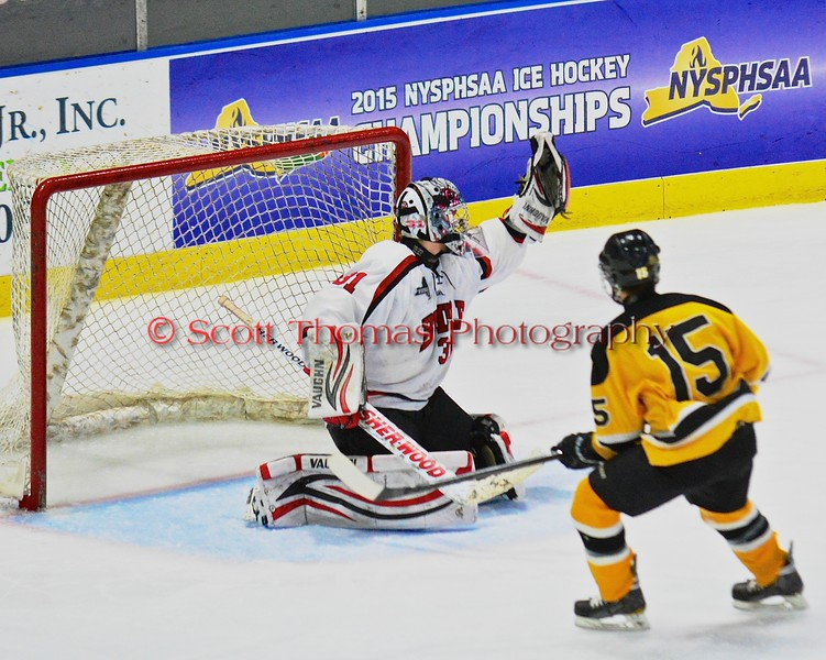 Baldwinsville Bees goalie Matt Sabourin (31) makes a glove save against the McQuaid Black Knights in NYSPHSAA Division I Boys Hockey Championships at the Utica Memorial Auditorium in Utica, New York on Sunday, March 15, 2015.  McQuaid won 6-2.