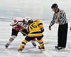 Baldwinsville Bees Matt Abbott (29) and McQuaid Black Knights Joe Paso (15) take the opening face-off in NYSPHSAA Division I Boys Hockey Championships at the Utica Memorial Auditorium in Utica, New York on Sunday, March 15, 2015.  McQuaid won 6-2.