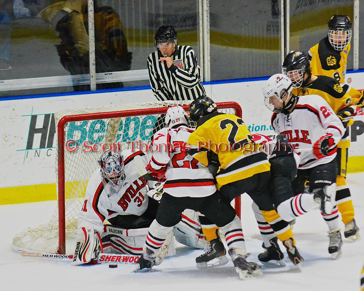 Baldwinsville Bees goalie Matt Sabourin (31) makes a paddle save against the McQuaid Black Knights in NYSPHSAA Division I Boys Hockey Championships at the Utica Memorial Auditorium in Utica, New York on Sunday, March 15, 2015.  McQuaid won 6-2.