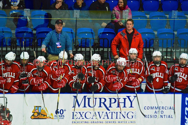 Baldwinsville Bees players bang their sticks on the boards before the start of the third period against the Saratoga Springs Blue Streaks in NYSPHSAA Division I Boys Hockey Championships at the Utica Memorial Auditorium in Utica, New York on Saturday, March 14, 2015.  Baldwinsville won 2-1 in overtime.