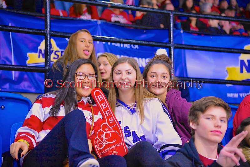 Baldwinsville Bees students at the game against the Saratoga Springs Blue Streaks in NYSPHSAA Division I Boys Hockey Championships at the Utica Memorial Auditorium in Utica, New York on Saturday, March 14, 2015.  Baldwinsville won 2-1 in overtime.