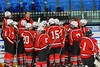 Baldwinsville Bees Head Coach Mark Lloyd talks with the Bees before the start of the second period against the Saratoga Springs Blue Streaks in NYSPHSAA Division I Boys Hockey Championships at the Utica Memorial Auditorium in Utica, New York on Saturday, March 14, 2015.  Baldwinsville won 2-1 in overtime.