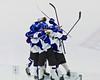 Saratoga Springs Blue Streaks players celebrate JT Rafferty's (27) goal against the Baldwinsville Bees in NYSPHSAA Division I Boys Hockey Championships at the Utica Memorial Auditorium in Utica, New York on Saturday, March 14, 2015.  Baldwinsville won 2-1 in overtime.
