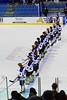 Saratoga Springs Blue Streaks lined up on the blue line during the National Anthem before playing the Baldwinsville Bees in NYSPHSAA Division I Boys Hockey Championships at the Utica Memorial Auditorium in Utica, New York on Saturday, March 14, 2015.