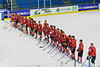 Baldwinsville Bees on the blue line during the National Anthem before playing the Saratoga Springs Blue Streaks in NYSPHSAA Division I Boys Hockey Championships at the Utica Memorial Auditorium in Utica, New York on Saturday, March 14, 2015.