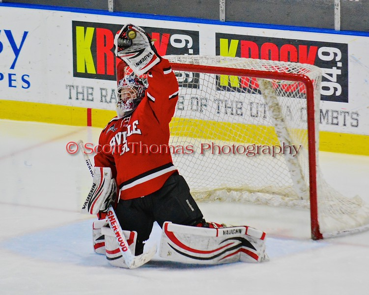 Baldwinsville Bees goalie Matt Sabourin (31) gloves a high shot against the Saratoga Springs Blue Streaks in NYSPHSAA Division I Boys Hockey Championships at the Utica Memorial Auditorium in Utica, New York on Saturday, March 14, 2015.  Baldwinsville won 2-1 in overtime.