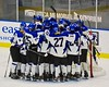Saratoga Springs Blue Streaks huddle up before the start of the second period against the Baldwinsville Bees in NYSPHSAA Division I Boys Hockey Championships at the Utica Memorial Auditorium in Utica, New York on Saturday, March 14, 2015.  Baldwinsville won 2-1 in overtime.