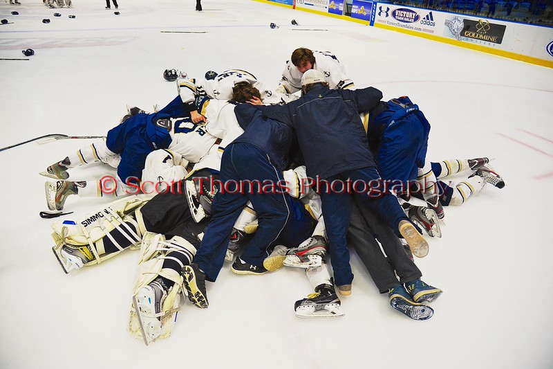Skaneateles Lakers players celebrate the win over the Williamsville East Flames in NYSPHSAA Division II Boys Hockey Championships at the Utica Memorial Auditorium n Utica, New York on Sunday, March 15, 2015.  Skaneateles won 5-2.