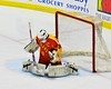 Williamsville East Flames goalie Max Battistoni (39) makes a save against the Skaneateles Lakers in NYSPHSAA Division II Boys Hockey Championships at the Utica Memorial Auditorium n Utica, New York on Sunday, March 15, 2015.  Skaneateles won 5-2.