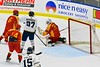 Skaneateles Lakers Matt Benson (8, not pictured) puts the puck past Williamsville East Flames goalie Max Battistoni (39) in NYSPHSAA Division II Boys Hockey Championships at the Utica Memorial Auditorium n Utica, New York on Sunday, March 15, 2015.  Skaneateles won 5-2.