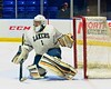 Skaneateles Lakers goalie Bennett Morse (1) in net against the Williamsville East Flames in NYSPHSAA Division II Boys Hockey Championships at the Utica Memorial Auditorium n Utica, New York on Sunday, March 15, 2015.  Skaneateles won 5-2.