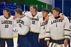 Skaneateles Lakers players Cullen McGlynn (10), Brett Singler (20), Owen Kuhns (12), Matt Benson (8) and goalie Bennett Morse (1) after defeating the Williamsville East Flames in NYSPHSAA Division II Boys Hockey Championships at the Utica Memorial Auditorium n Utica, New York on Sunday, March 15, 2015.  Skaneateles won 5-2.
