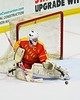 Williamsville East Flames goalie Max Battistoni (39) makes a toe save against the Skaneateles Lakers in NYSPHSAA Division II Boys Hockey Championships at the Utica Memorial Auditorium n Utica, New York on Sunday, March 15, 2015.  Skaneateles won 5-2.
