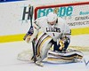 Skaneateles Lakers goalie Bennett Morse (1) makes a save against the Williamsville East Flames in NYSPHSAA Division II Boys Hockey Championships at the Utica Memorial Auditorium n Utica, New York on Sunday, March 15, 2015.  Skaneateles won 5-2.