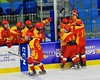 Williamsville East Flames players celebrate the goal by Dylan Cicero (2) against the Skaneateles Lakers in NYSPHSAA Division II Boys Hockey Championships at the Utica Memorial Auditorium n Utica, New York on Sunday, March 15, 2015.  Skaneateles won 5-2.