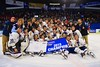 Skaneateles Lakers with the 2015 NYSPHSAA Division II Boys Hockey Championship banner at the Utica Memorial Auditorium n Utica, New York on Sunday, March 15, 2015.  Skaneateles won 5-2.