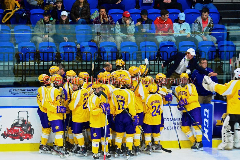 CBA-JD Brothers at the bench before the start of the second period against the Skaneateles Lakers in NYSPHSAA Division II Boys Hockey Championships at the Utica Memorial Auditorium in Utica, New York on Saturday, March 14, 2015.  Skaneateles won 4-3.