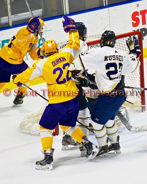 CBA-JD Brothers Ryan Durkin (22) raises his stick after a goal by Zach Taylor (27) against the Skaneateles Lakers in NYSPHSAA Division II Boys Hockey Championships at the Utica Memorial Auditorium in Utica, New York on Saturday, March 14, 2015.  Skaneateles won 4-3.