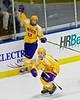 CBA-JD Brothers Ryan Durkin (22) and Zach Taylor (27) celebrates Durkin's goal against the Skaneateles Lakers in NYSPHSAA Division II Boys Hockey Championships at the Utica Memorial Auditorium in Utica, New York on Saturday, March 14, 2015.  Skaneateles won 4-3.