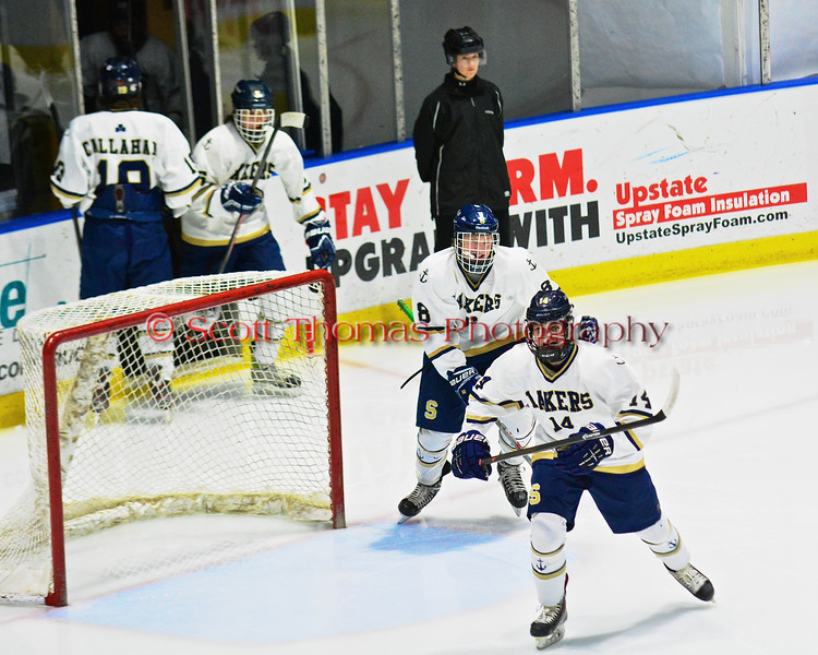 Skaneateles Lakers take the ice before playing the Christian Brothers Academy/Jamesville-DeWitt in NYSPHSAA Division II Boys Hockey Championships at the Utica Memorial Auditorium in Utica, New York on Saturday, March 14, 2015.
