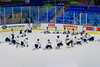 Skaneateles Lakers players stretch before playing the Christian Brothers Academy/Jamesville-DeWitt in NYSPHSAA Division II Boys Hockey Championships at the Utica Memorial Auditorium in Utica, New York on Saturday, March 14, 2015.