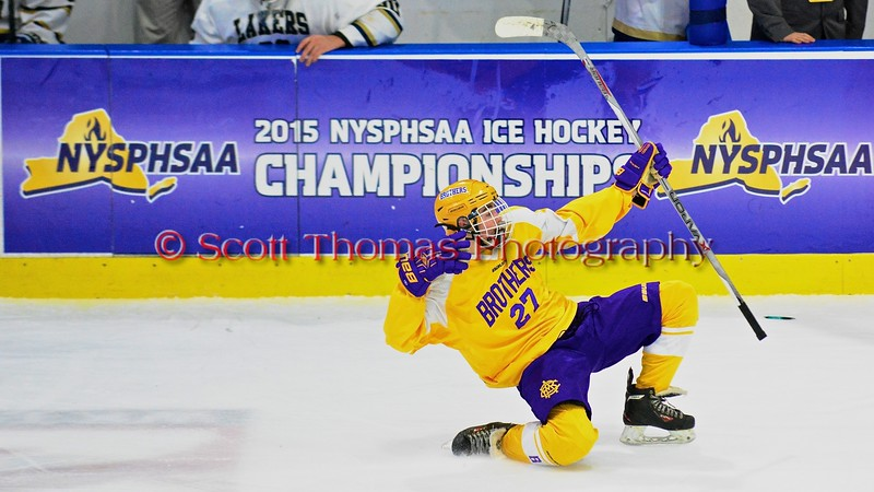 CBA-JD Brothers Zach Taylor (27) celebrates his goal against the Skaneateles Lakers in NYSPHSAA Division II Boys Hockey Championships at the Utica Memorial Auditorium in Utica, New York on Saturday, March 14, 2015.  Skaneateles won 4-3.