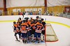 Liverpool Warriors huddle up before the start of the second period against the Baldwinsville Bees at the Greater Baldwinsville Ice Arena in Baldwinsville, New York on Tuesday December 2, 2014.  Baldwinsville won 4-0.