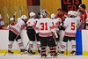 Baldwinsville Bees during a time out against the Liverpool Warriors at the Greater Baldwinsville Ice Arena in Baldwinsville, New York on Tuesday December 2, 2014.  Baldwinsville won 4-0.