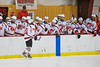 Baldwinsville Bees Adam Tretowicz (21) celebrates his goal against the Oswego Buccaneers at the Greater Baldwinsville Ice Arena in Baldwinsville, New York on Tuesday January 27, 2015.  Baldwinsville won 4-0.