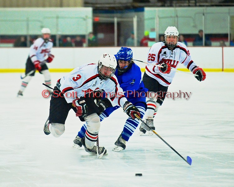 Baldwinsville Bees Alex Paterson-Jones (3) breaks through the Oswego Buccaneers defense at the Greater Baldwinsville Ice Arena in Baldwinsville, New York on Tuesday January 27, 2015.  Baldwinsville won 4-0.