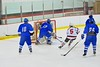 Baldwinsville BeesAdam Tretowicz (21, behind net) scores on a wrap around against the Oswego Buccaneers at the Greater Baldwinsville Ice Arena in Baldwinsville, New York on Tuesday January 27, 2015.  Baldwinsville won 4-0.