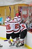 Baldwinsville Bees players celebrate a goal by Charlie Bertrand (15) against the Oswego Buccaneers at the Greater Baldwinsville Ice Arena in Baldwinsville, New York on Tuesday January 27, 2015.  Baldwinsville won 4-0.