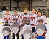 Baldwinsville Bees Boys Hockey players Matt Abbott (29), Andy Rossler (24), James Pelcher (17), Kyle Lindsay (26) and Charlie McAllister (14) on Senior Night at the Greater Baldwinsville Ice Arena in Baldwinsville, New York on Friday February 6, 2015.