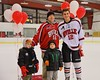 Baldwinsville Bees Connor Carhart (12) with his teacher on Teacher Appreciation Night at the Greater Baldwinsville Ice Arena in Baldwinsville, New York on Tuesday, January 20, 2015.