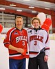 Baldwinsville Bees Alex Paterson-Jones (3) with his teacher on Teacher Appreciation Night at the Greater Baldwinsville Ice Arena in Baldwinsville, New York on Tuesday, January 20, 2015.