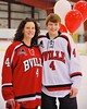 Baldwinsville Bees Ben Dwyer (4) with his teacher on Teacher Appreciation Night at the Greater Baldwinsville Ice Arena in Baldwinsville, New York on Tuesday, January 20, 2015.