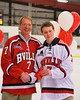 Baldwinsville Bees Robbie Carson (7) with his teacher on Teacher Appreciation Night at the Greater Baldwinsville Ice Arena in Baldwinsville, New York on Tuesday, January 20, 2015.