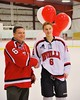 Baldwinsville Bees Josh Racha (6) with his teacher on Teacher Appreciation Night at the Greater Baldwinsville Ice Arena in Baldwinsville, New York on Tuesday, January 20, 2015.