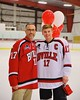 Baldwinsville Bees James Pelcher (17) with his teacher on Teacher Appreciation Night at the Greater Baldwinsville Ice Arena in Baldwinsville, New York on Tuesday, January 20, 2015.