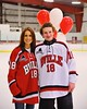 Baldwinsville Bees Joe Glamos (18) with his teacher on Teacher Appreciation Night at the Greater Baldwinsville Ice Arena in Baldwinsville, New York on Tuesday, January 20, 2015.