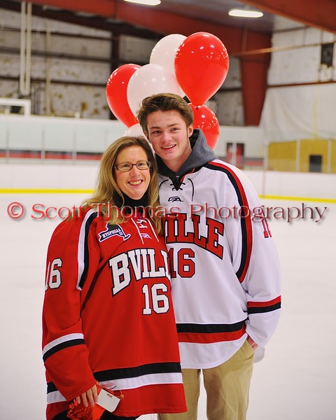 Baldwinsville Bees Carson Hayes (16) with his teacher on Teacher Appreciation Night at the Greater Baldwinsville Ice Arena in Baldwinsville, New York on Tuesday, January 20, 2015.